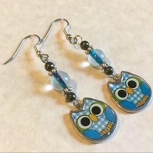 Jewelry - 4/$25 Blue Owl Dangle Earrings Beaded Glass SALE